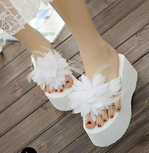 Zapatillas sandalias de las mujeres flores voltear sandalias antideslizantes zapatos de playa pesada con fondo hembra salvaje US6.5-7 / EU37 / UK4.5-5 / CN37
