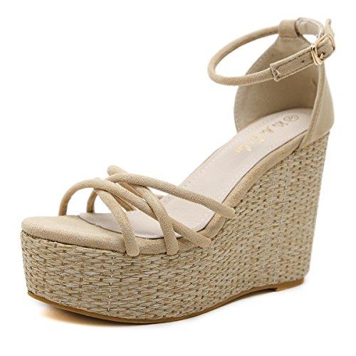 el mujer NUEVO sandalias alta Pendiente impermeable ESTILO inferior y rocío para zapatos Taiwán black con verano toe bizcocho zapatos grueso ranurados versátil con ZHZNVX UXx0Px