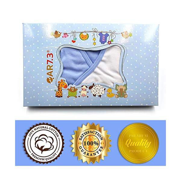 QAR7.3 Completo Vestiti Neonato 3-6 mesi - Set Regalo, Corredino da 5 pezzi: Body, Pigiama, Bavaglino e Cuffietta (Blu… 2