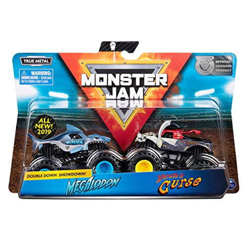 Monster Jam Megalodon vs Pirate's Curse Die-Cast Monster Trucks, 1:64 Scale, 2 Pack 64 Scale Diecast Truck Car