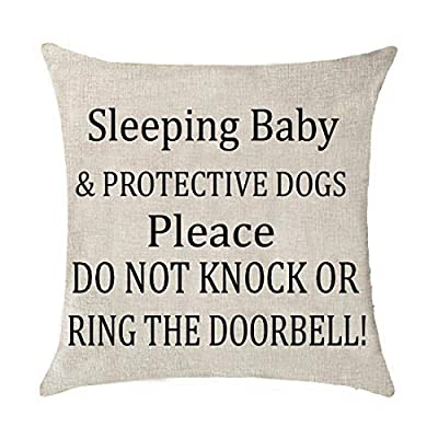 Sleeping Baby and Protective Dogs Please Do Not Knock or Ring The doorbell Cotton Linen Throw Pillow Covers Case Cushion Cover Sofa Decorative Square 18 x 18 inch