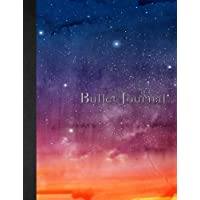 Bullet Journal: 8.5 x 11 - 160 pages - Sky - Cloud - Night - Watercolor and Marble Notebook Dotted Grid - soft cover glossy finish - journal, planner, organizer, dot point, sketch, calligraphy