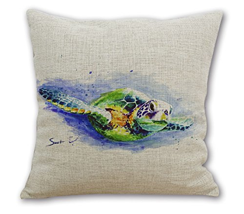 OneMtoss24'Inches Sea Life Series Cotton Linen Square Throw Pillow Case Cushion Cover Swimming Sea Turtles (Newport Pillow Covers)