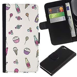 EJOY---La carpeta del tirón la caja de cuero de alta calidad de la PU Caso protector / Apple Iphone 6 / --Patrón Helado minimalista magdalena feliz
