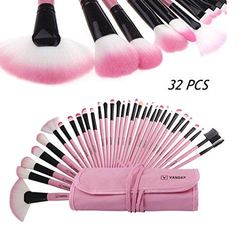 Vanderlife Wholesale 5 set 32 PCS/Set Make up brushes Tool Cosmetics Foundation Powder Eyeliner Eyeshadow lip face (pink) (Wholesale Brushes Cosmetics)