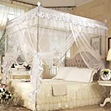 Four Corner Post Bed Canopy Curtain Mosquito Net Bedroom Nursery Room Princess Style Netting Bedding Cute Decoration ( Color : White , Size : 1.5m*2m )