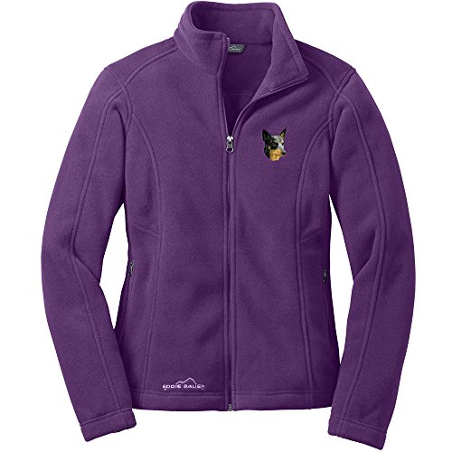 Cherrybrook Dog Breed Embroidered Ladies Eddie Bauer Fleece Jacket - X-Large - BlackBerry - Australian Cattle - Fleece Dog Australian Cattle
