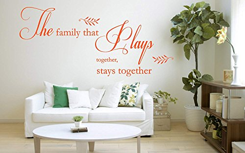 TAMOP The family that plays together Stays together' Quote Vinyl Wall Art Sticker Mural Decal Home Wall Decor Living room Dining room Bedroom Home Quote Family Quote (The Family That Plays Together Stays Together Quote)