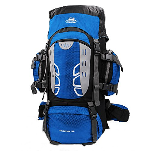 Mooedcoe 75L Internal Frame Hiking Backpack for Outdoor Camping Travel Backpacking Backpack for Men (Blue)