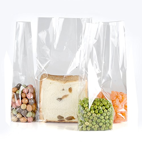 200pcs Clear Plastic Food Storage Cellophane Cello Gift Wrap Bags with Ties,5.5×3×10.6 inch,Square Bottom by color queen