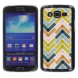 TopCaseStore / la caja del caucho duro de la cubierta de protección de la piel - Tiles Green Navy Blue Pattern - Samsung Galaxy Grand 2 SM-G7102 SM-G7105