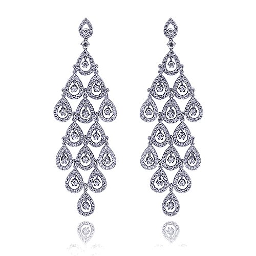 Rhodium Plated Sterling Silver Round CZ Setting Dangling Glistening Rain drop Design Drop Earrings by Lavish