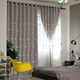 dark grey curtains pencil pleat Nclon Curtains,Cotton Solid Embroidery Blackout blind Thermal insulated Prevent uv ray Double Moisture Bedroom Living room Pencil pleat Voile Curtains Eyelet Eco-friendly-gray 1 panel W250cmD270cm