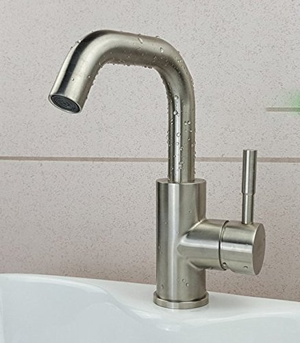 AWXJX Stainless Steel Hot and Cold Basin Toilet Brushed Rotate Single Hole Sink Mixer Taps