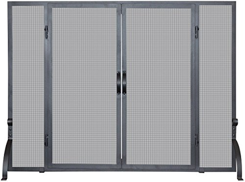 - UniFlame, S-1046, Single Panel Wrought Iron Screen with Doors, Large