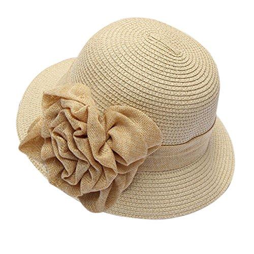 HUAMULAN Women Sun Hat Floral Straw Middle Brim Summer Beach Cap Foldable UPF 50+