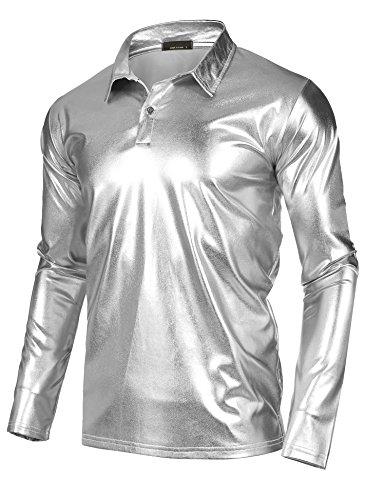 JINIDU Men's Disco Shirt Long Sleeve Shiny Metallic Gold Silver Nightclub Style Christmas Costume Party Polo Shirt -