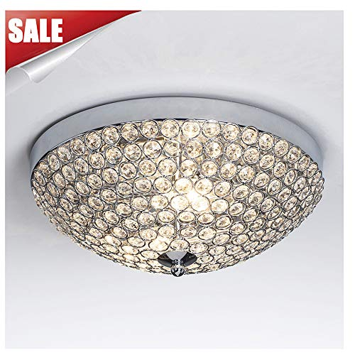 GLANZHAUS Modern Design 11.8 Inches Small Clear Crystal Beads Bowl Shaped Chrome Finish Base Chandelier Crystal Ceiling Light, Flush Mount Ceiling Light Suitable For Bedroom Living Room Hallway by GLANZHAUS