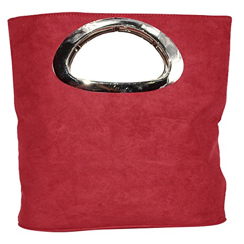 Clutch Top Ladies Wocharm Suede Handle Handbag Womens Evening Plain Red Foldable Small Leather Bag PwwgYdq