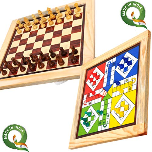 Pytho Chess and Ludo 2 in 1 Board Game | Wood-Crafted Magnetic Reversible Game Set | Size: 12 X 12 Inches (B088QB2D7W) Amazon Price History, Amazon Price Tracker