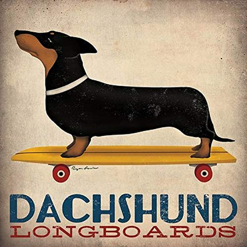 Skateboard Poster - Dachshund Longboards by Ryan Fowler Skateboard Sign Dogs Animals Print Poster