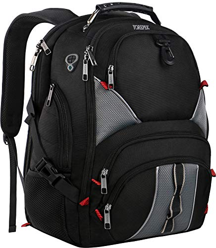 (YOREPEK 17 Inch Laptop Backpack,Large Travel Backpacks for International Travel,TSA Friendly Computer Backpack with USB Port for Men Women,Water Resistant College School Bag with Luggage Sleeve,Black)
