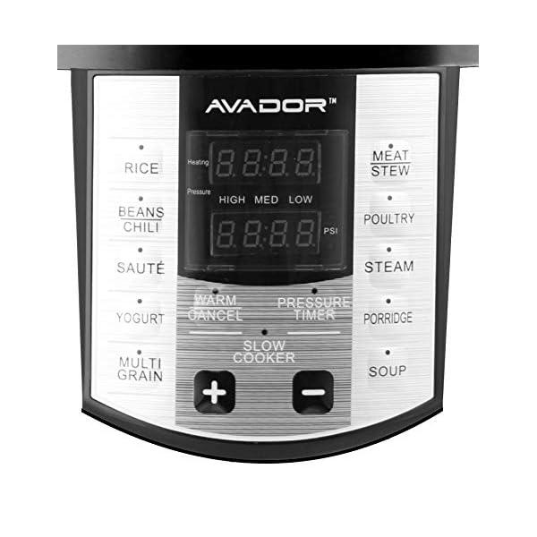 Avador AV-13CS603W 10 Preset Menu Pressure Cooker 6Qt/1000W, Stainless Steel Cooking Pot and Exterior 2