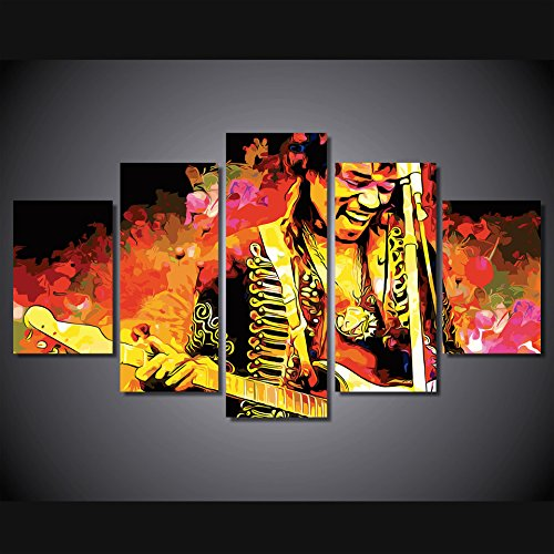 Jimi Hendrix Canvas - Jimi hendrix wall poster decoration print canvas 5 pieces