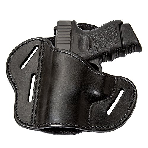 (The Ultimate 3 Slot OWB Leather Gun Belt Holster - Fits S&W Shield/Glock/Springfield XD - Black Left Handed)
