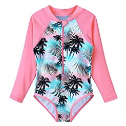 TFJH E Kids Girls Rashguard Swimsuit UV ...