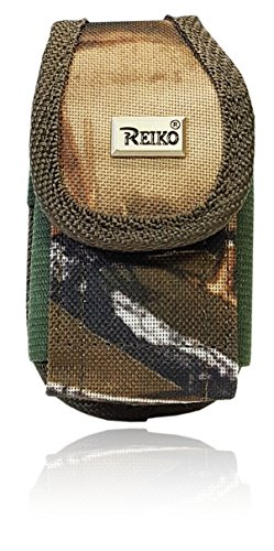 Reiko Vertical Canvas Case, Small Camo REALTREE Rugged Pouch Holster Nylon Metal Clip Flip Phone Belt Case Fits MOST FLIP PHONES (Camo) Flip Phone Pouch Case