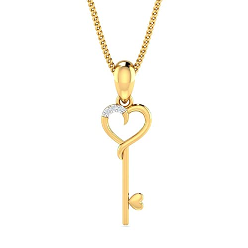 KuberBox Yellow Gold and Diamond Pendant for Women