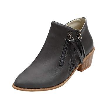 LuckyGirls Botas Zapatos de Tacón para Mujer Flecos Sexy Botitas con Cierre Tacones Altos Grueso 4cm: Amazon.es: Deportes y aire libre