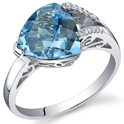 Trillion Sides Ring - Swiss Blue Topaz Ring Sterling Silver Trillion Checkerboard Cut 2.50 Carats Size 6
