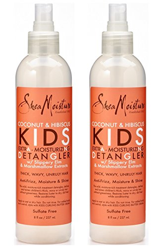 Shea Moisture Kids Hair Care Coconut & Hibiscus KIDS Extra Moisturizing Detangler with Slippery Elm and Marshmallow Extracts 8 oz, - Value Double pack, qty of 2