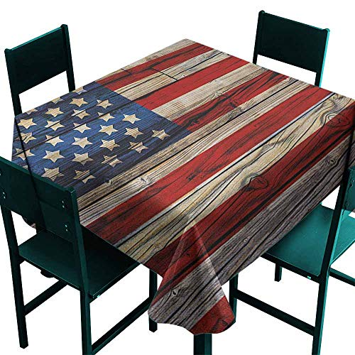 Sunnyhome Indoor/Outdoor Square Tablecloth 4th of July Wooden Planks Painted as United States Flag Patriotic Country Style Party Decorations Table Cover Cloth 36x36 Inch Red Beige Navy -