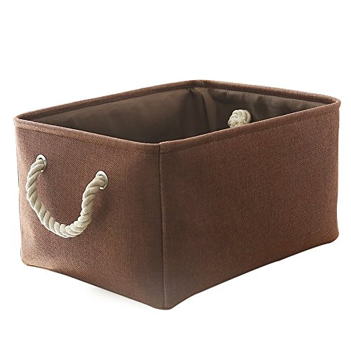 TheWarmHome Fabric Storage Bin Lined Baskets with Handles for Toy Bin Clothes Basket,Brown