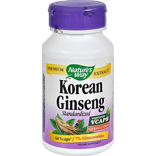 Natures Way Korean Ginseng Standardized - 60 Vegetarian Capsules - Endurance and Vitality