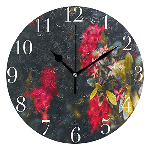 Dozili Bright Red Flowers Round Wall Clock Arabic Numerals Design Non Ticking Wall Clock Large for Bedrooms,Living Room,Bathroom (Room Pbteen Design)