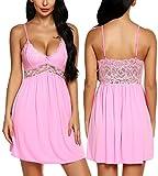 RSLOVE Women Lace Lingerie Sleepwear Chemises V-Neck Full Slip Babydoll Nightgown Dress (XL, Pink)