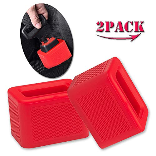2-Pack Car Seat Belt Buckle Holder Enker, Car Belt Lock Buckle Guard- Soft Silicone, Easy to Install, Holds The Seatbelt Receiver in Upright Position- Make Buckling Easier for Kids, Adults, etc- Red