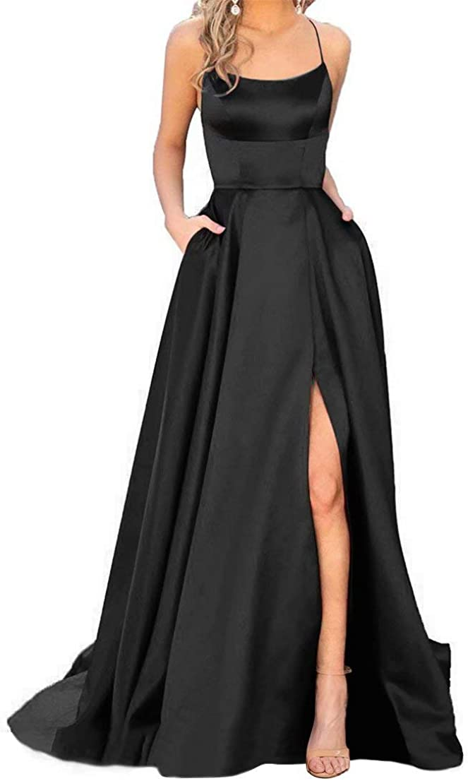 Spaghetti Satin Long Black Prom Dresses