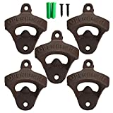 NiceEshop(TM) Rustic Cast Iron Open Here Wine Bottle Opener Wall Mounted (5PCS) with Nails