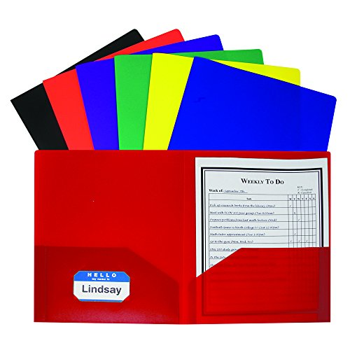 C-Line Products CLI33950 Two Pocket Poly Portfolios Folder, Assorted (Pack of 36) ()