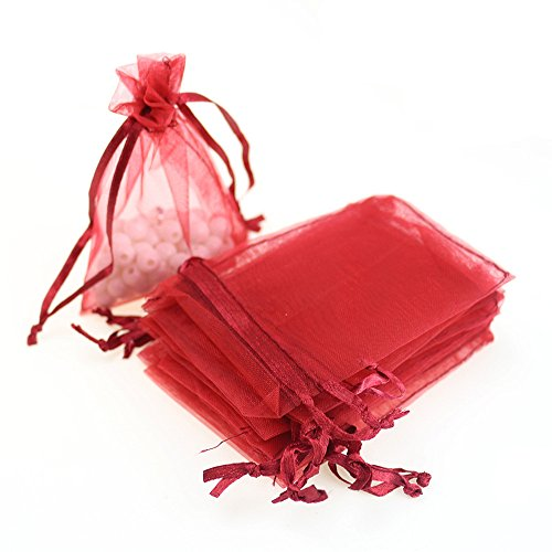 Red 60 Pcs Sheer Organza Drawstring Pouches Gift Bags 6x9 Inches