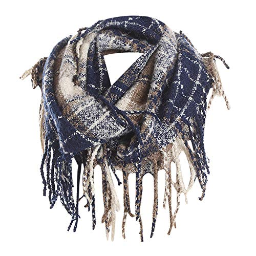 (Plaid Scarfs Hot Sale, deatu Clearance Man Woman Teen Girl Winter Warm Tassel LongPlaid Soft Shawl Infinity Scarf (Blue))