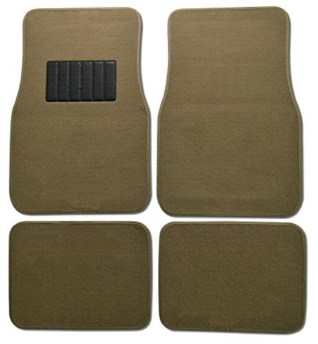 (Unique Imports Premium Carpet 4PC Front & Rear Driver Passenger Floor Mats Cars Trucks Sedans SUVs (Tan))