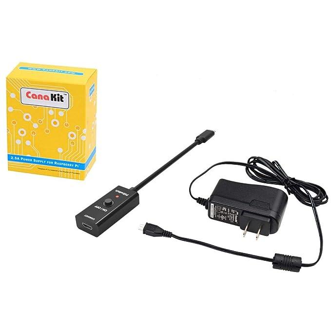 Amazon.com: CanaKit 2,5 A Raspberry Pi 3 B + Fuente de ...