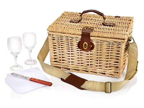 Picknickkorb aus Weidengeflecht für 2 Personen mit Tragegurt, 6 teiliges Set beeinhaltet Weingläser aus Glas, Praktische Transportsicherung Ihrer Wein / Wasserflaschen an der Innenseite.