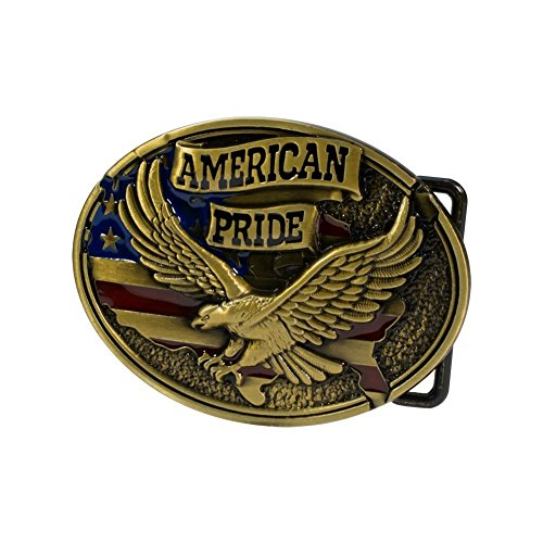 Buckle Rage Mens American Pride W/ Eagle And USA Flag Belt Buckle Antique - Flag Buckle Belt